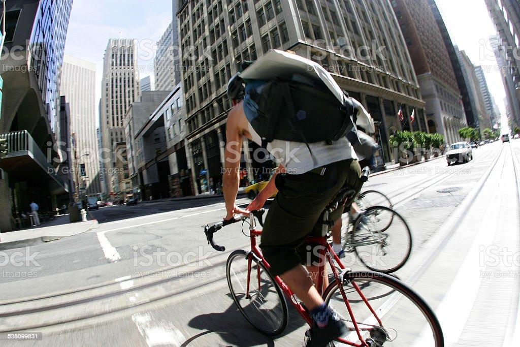 Bike Messengers in San Francisco stock photo