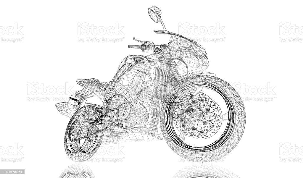 bike, motorcycle,  3D model royalty-free stock photo