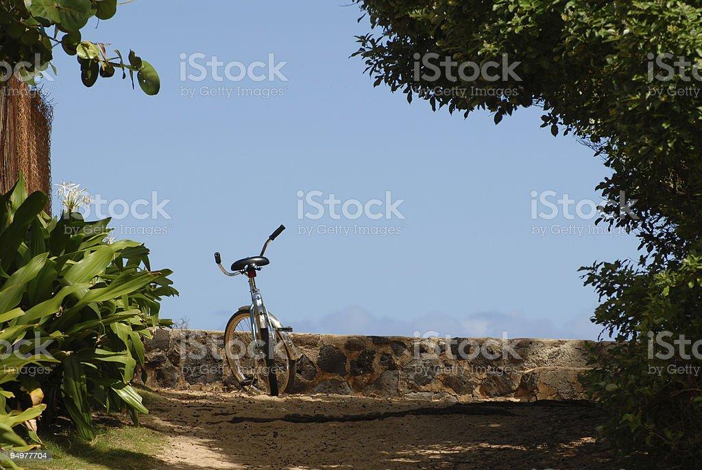 Bike on beach path royalty-free stock photo