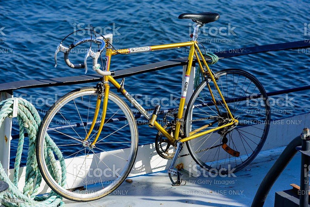 Bike on boat stock photo