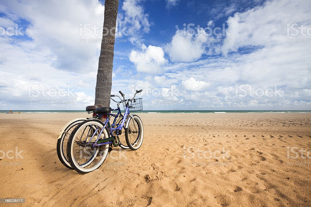 Bike on the sandy beach of Fort Lauderdale royalty-free stock photo
