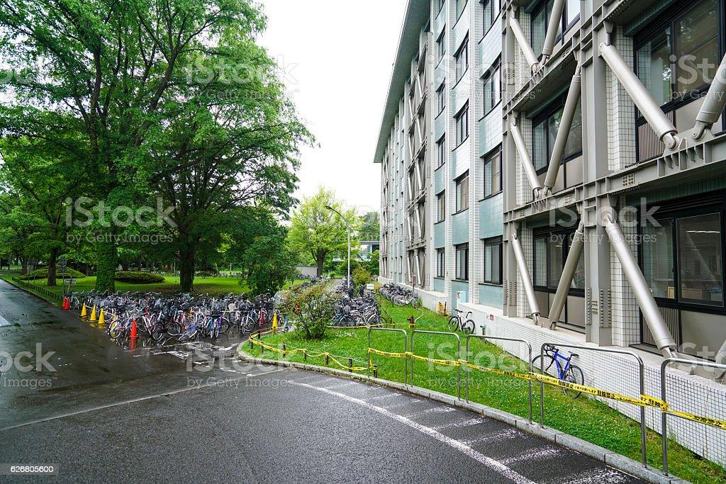 Bike parking at Faculty of Engineering in Hokkaido University, Sapporo stock photo