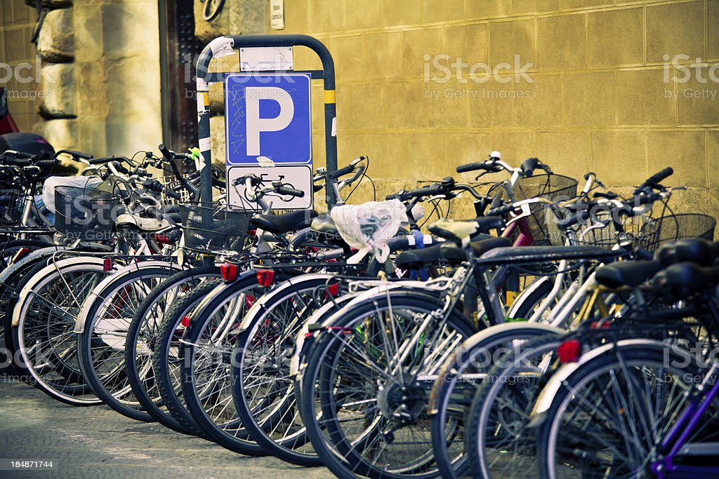 Bike Parking in Florence, Italy royalty-free stock photo