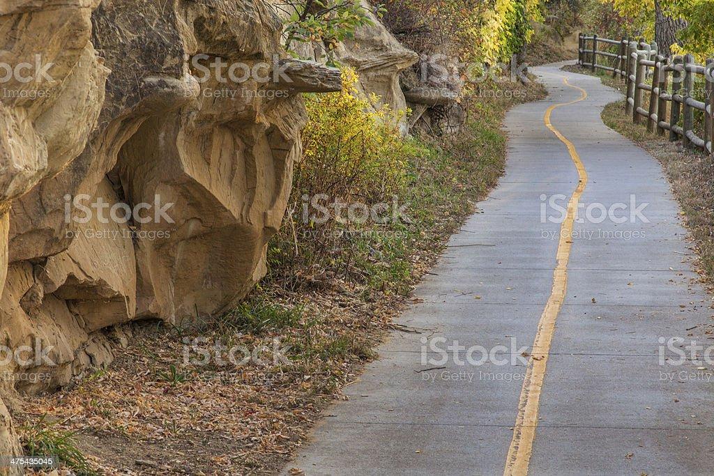 bike path along Poudre River stock photo
