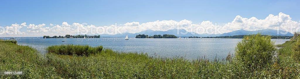 Bike path around Lake Chiemsee, Bavaria, Germany stock photo