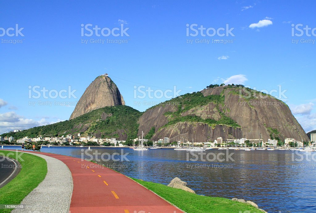 Bike path in front of the Sugarloaf royalty-free stock photo