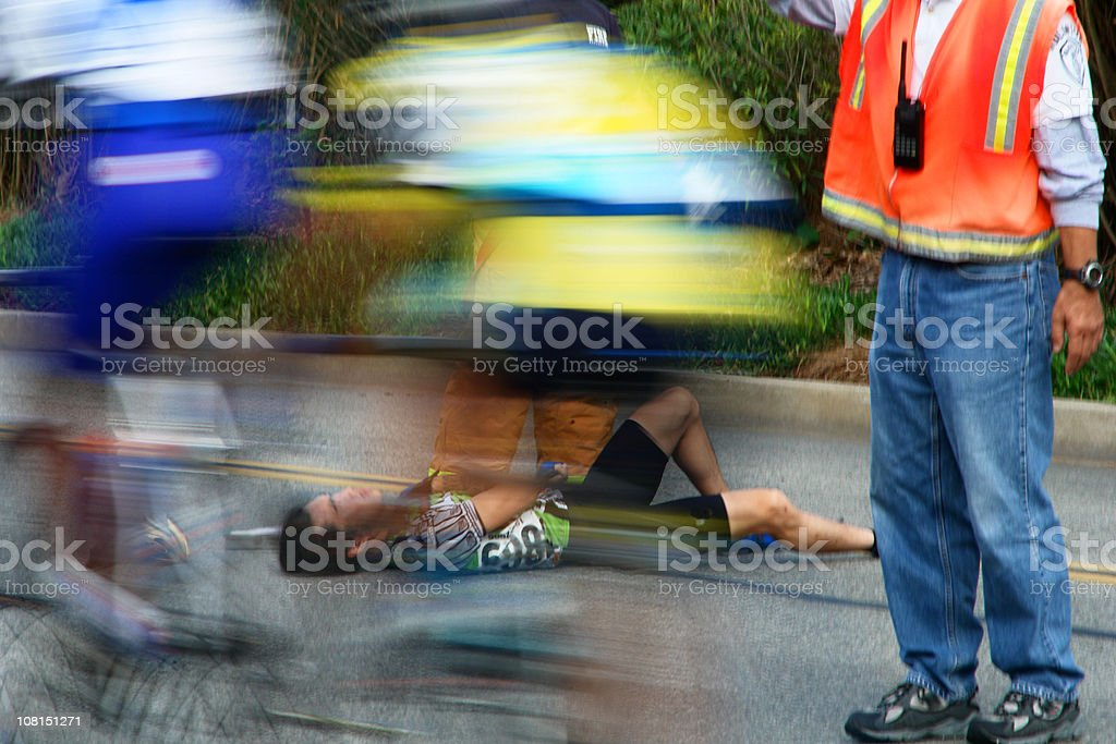 Bike Race Injury Motion Blur stock photo