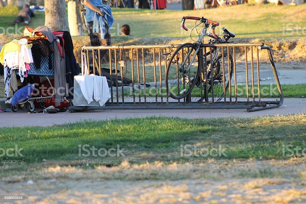 Bike Rack and Shopping Cart stock photo