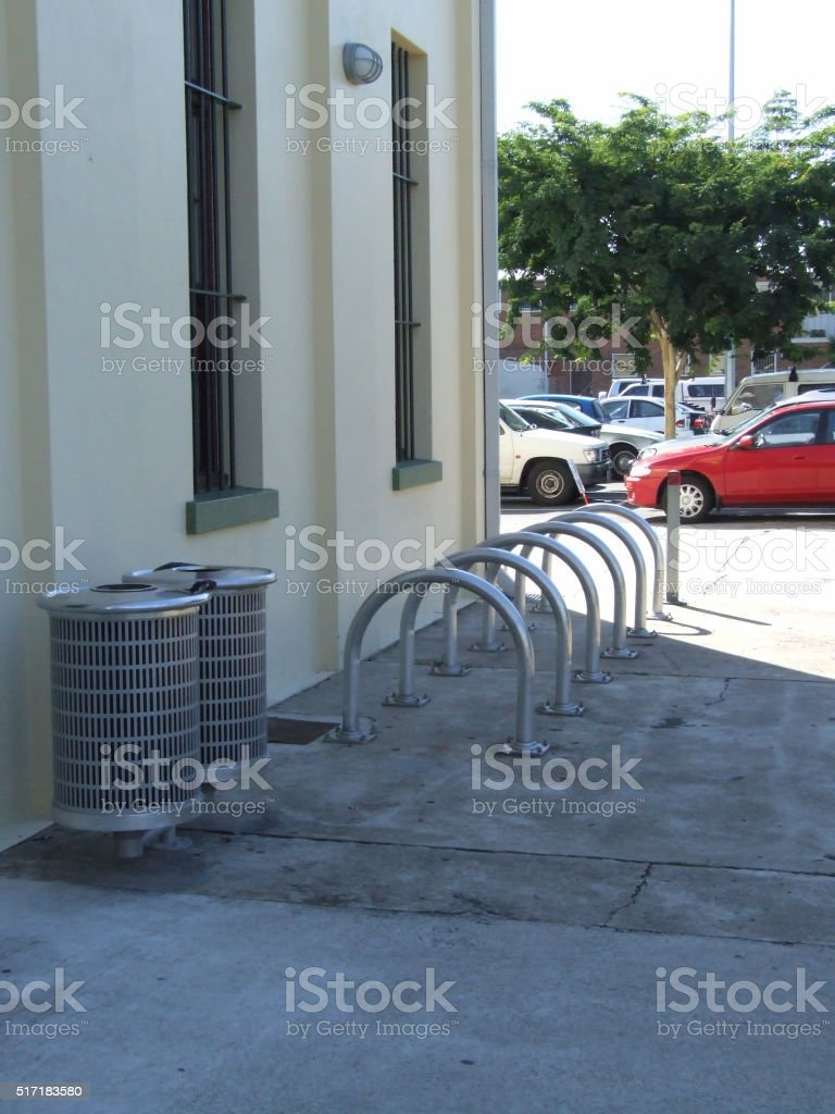 Bike racks and rubbish bins in Brisbane stock photo