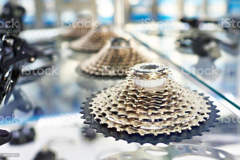 Bike rear cassette, stars of speeds in shop stock photo