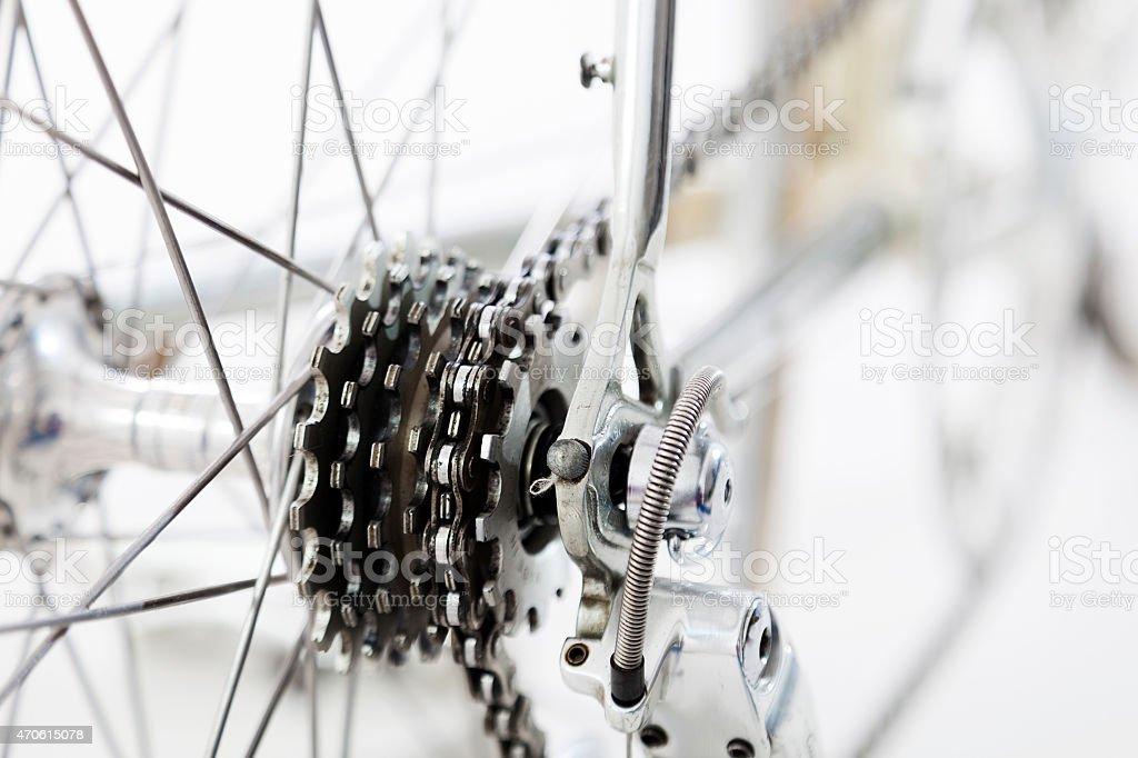 bike rear wheel detail isolated on white background stock photo
