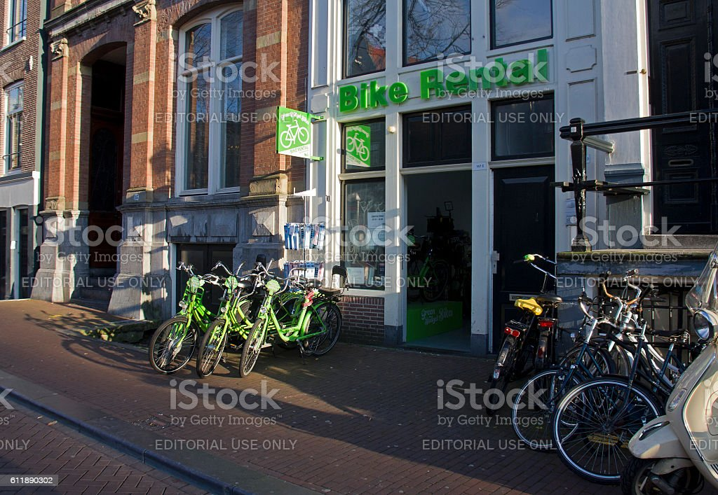 Bike Rental in Amsterdam, Holland stock photo