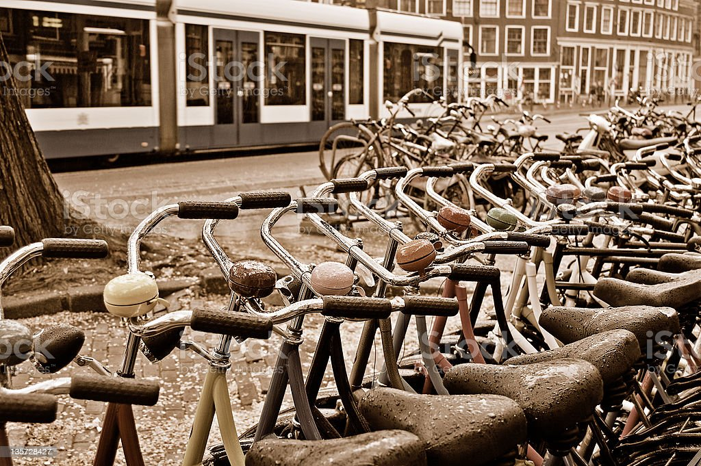 Bike rental station on a rainy day in Amsterdam royalty-free stock photo