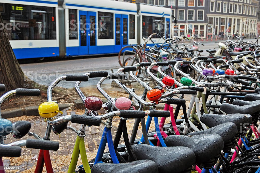 Bike rental station on a rainy day in Amsterdam stock photo
