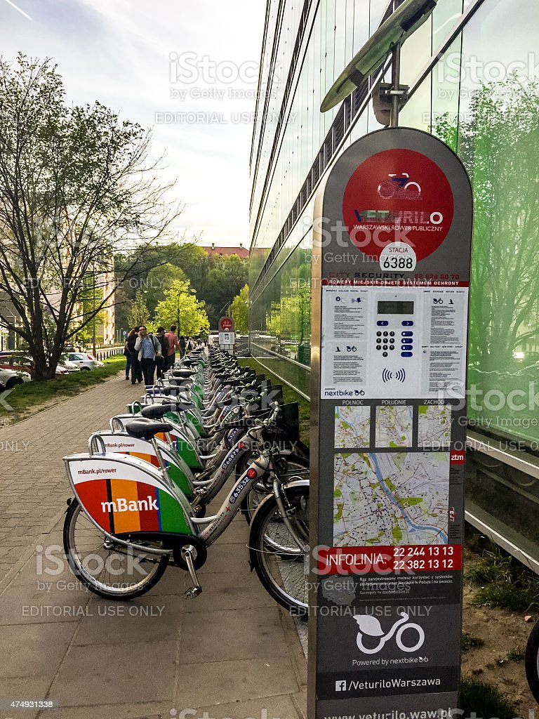 Bike rentals near University Library, Warsaw, Poland stock photo