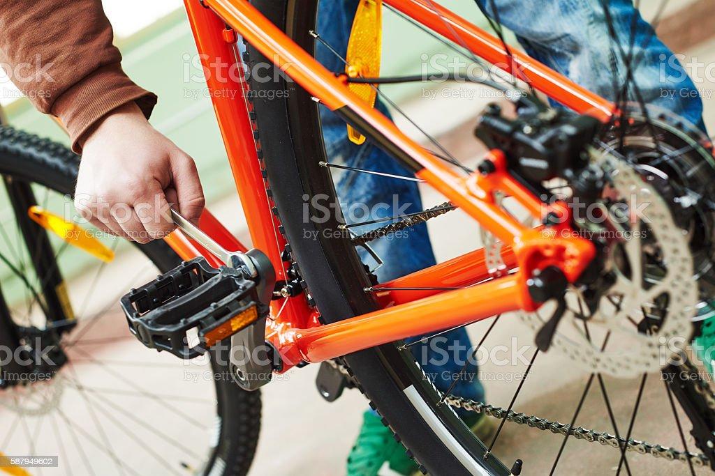 bike repair or adjustment stock photo