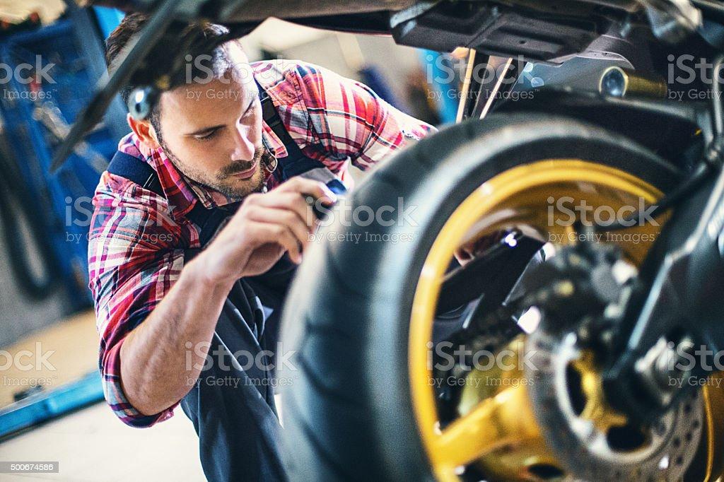 Bike repair. stock photo