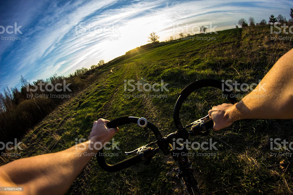 Bike ride in first person view stock photo