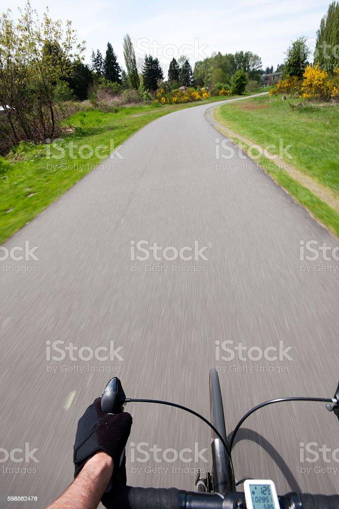 Bike Ride on a scenic bike trail. stock photo