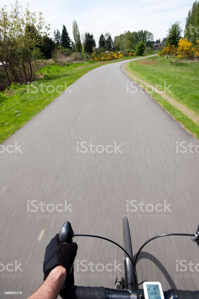 Bike Ride on a scenic bike trail. stock photo