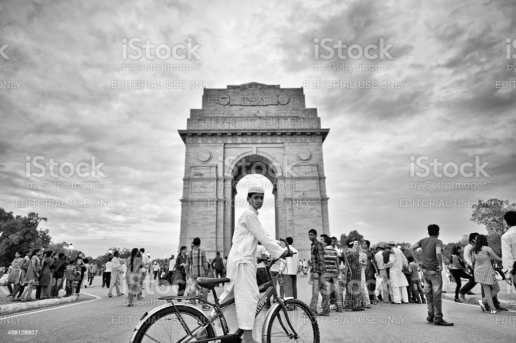 Bike Rider in Front of India Gate Monument royalty-free stock photo