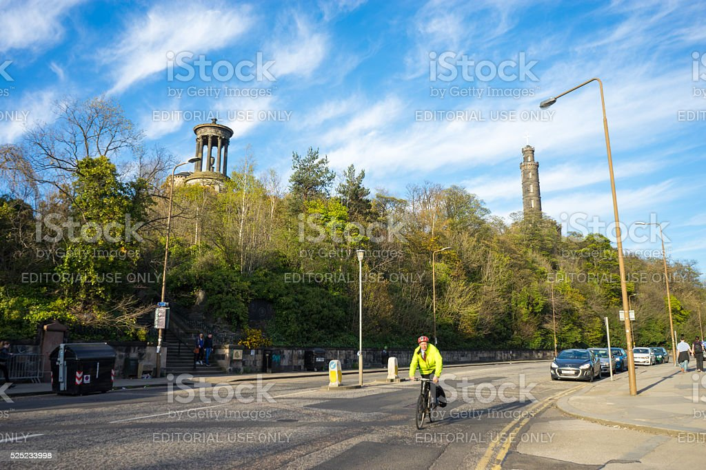 Bike rider on Princes Street/ A1 stock photo