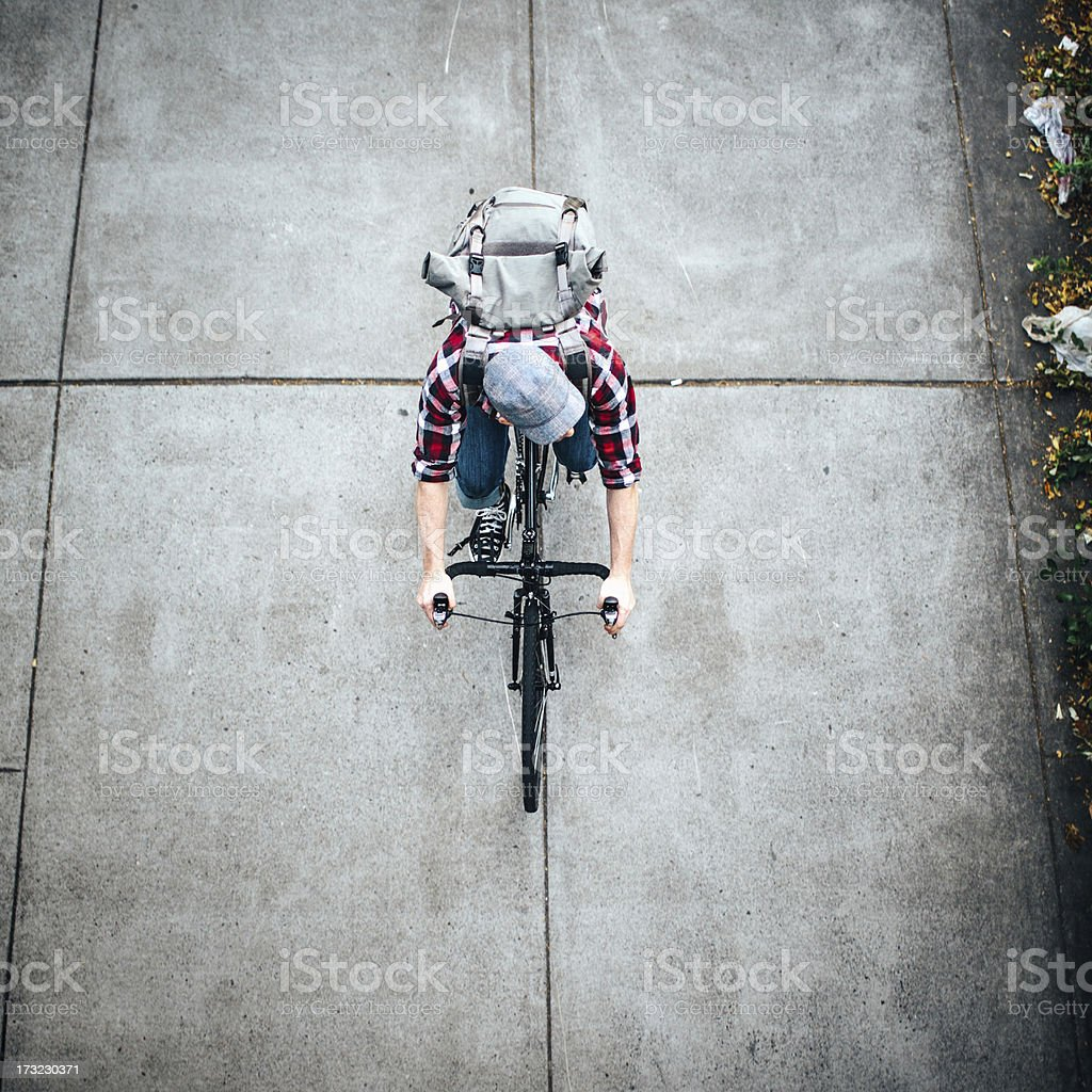 Bike Rider Overhead royalty-free stock photo