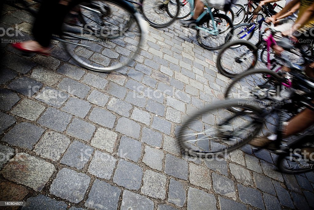 Bike riders moving - motion blur abstract royalty-free stock photo