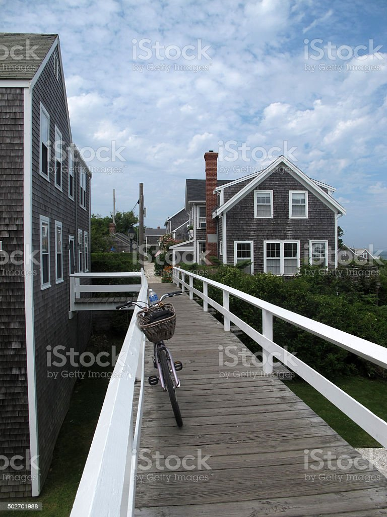 Bike Riding Break in Nantucket Cape Cod stock photo