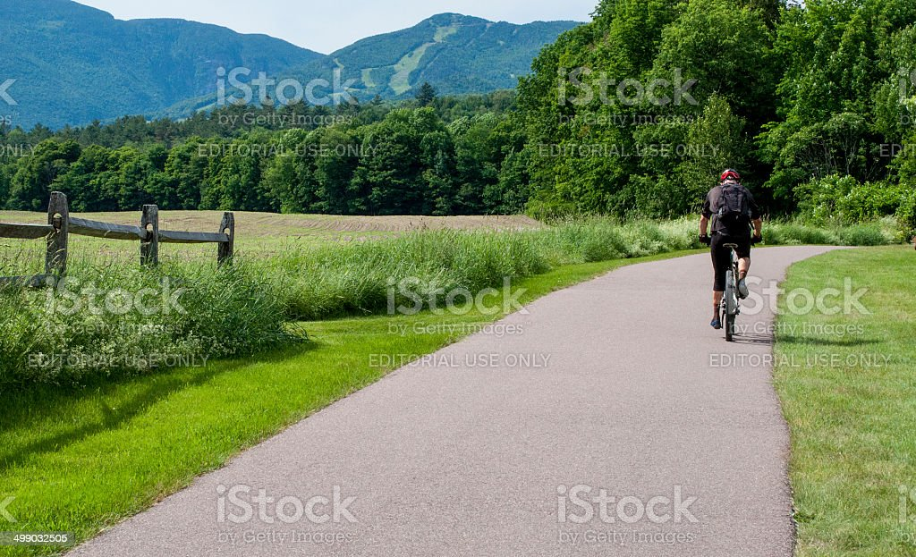 Bike riding in Stowe, Vermont stock photo