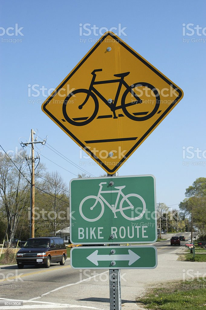 Bike Route Signs royalty-free stock photo
