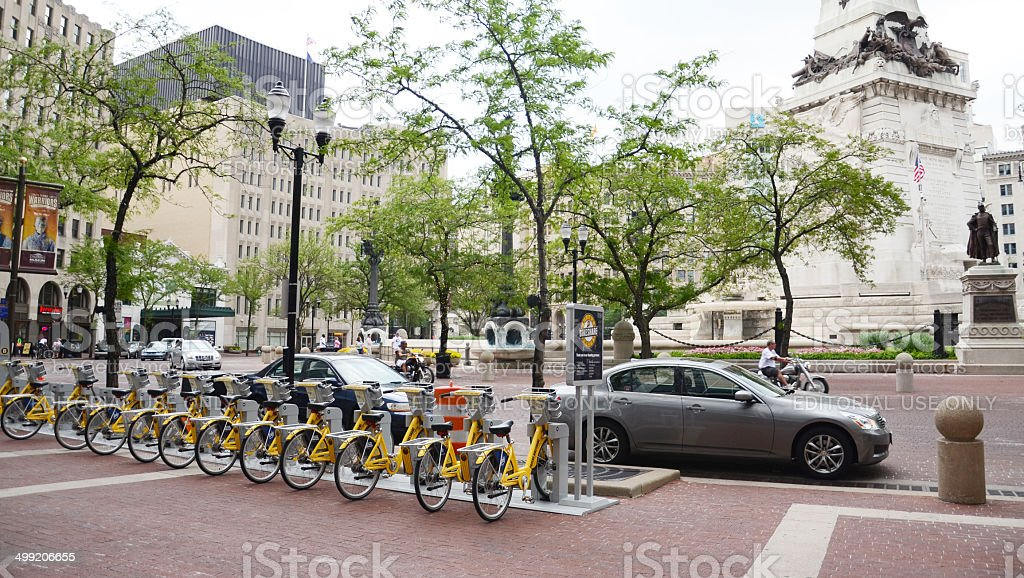 Bike Share Indianapolis with monument stock photo