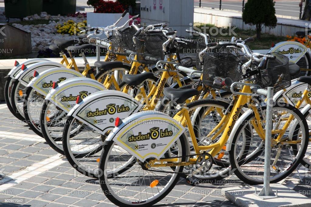 Bike sharing in Romania stock photo
