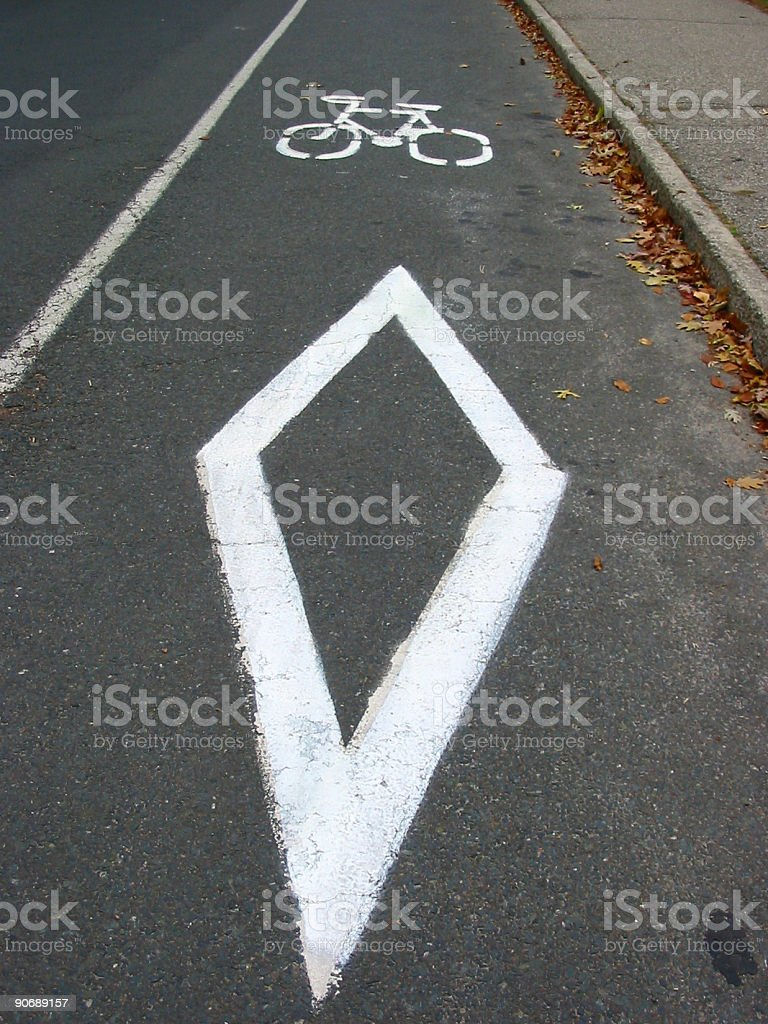 Bike sign on the road stock photo