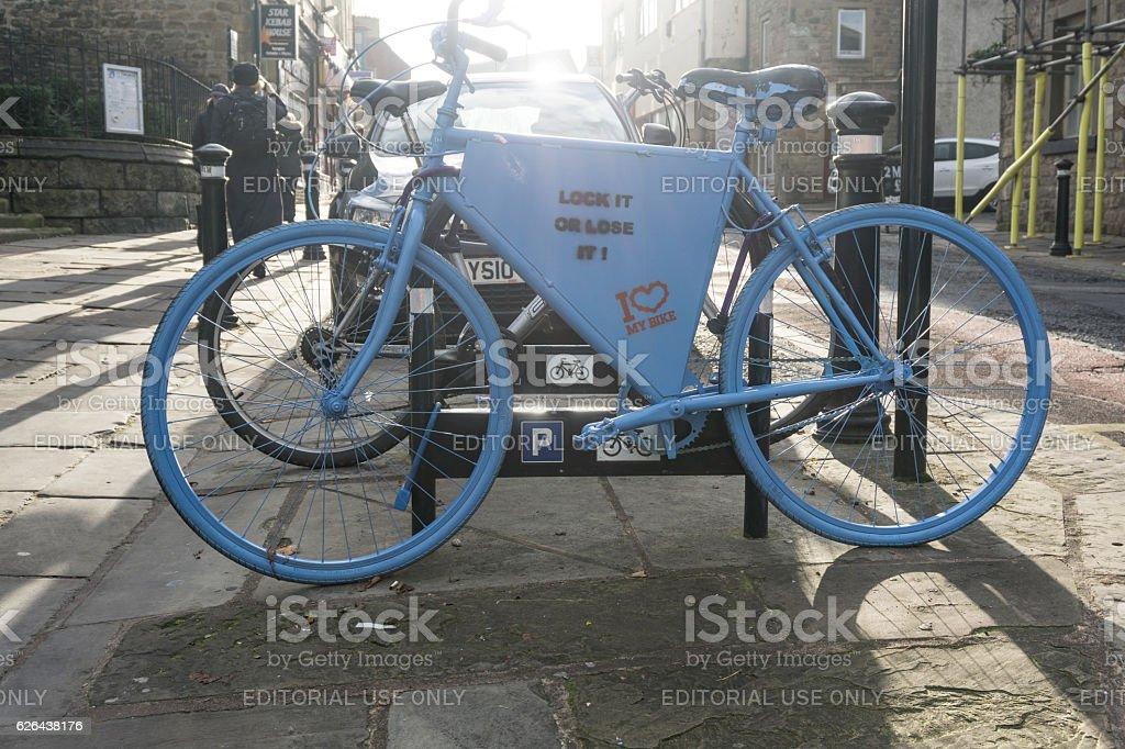 Bike theft prevention Lancaster, England, UK stock photo