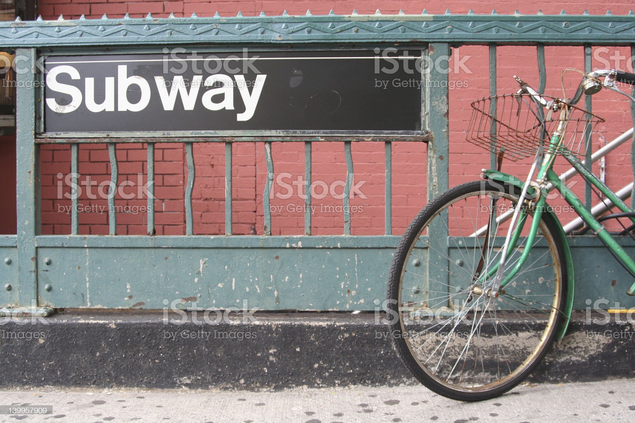 Bike to the subway royalty-free stock photo