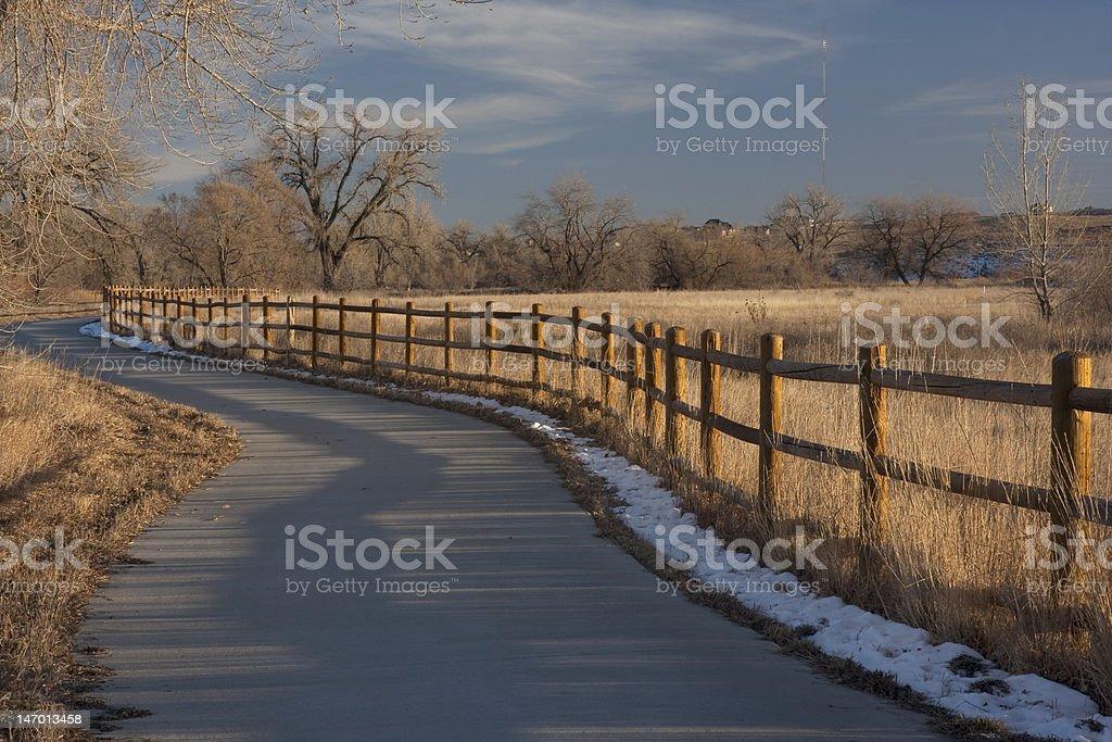 bike trail in Colorado near Greeley stock photo