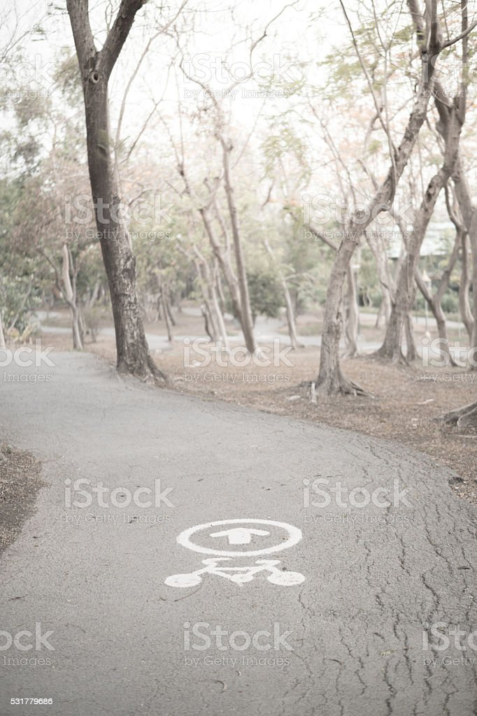 bike way in a park stock photo