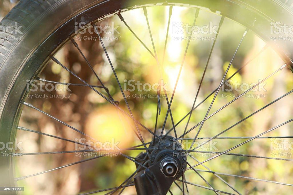 Bike wheel detail stock photo