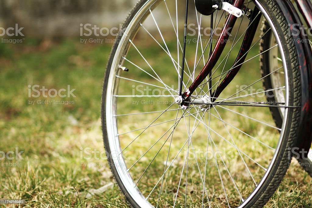 Bike wheel with brake stock photo