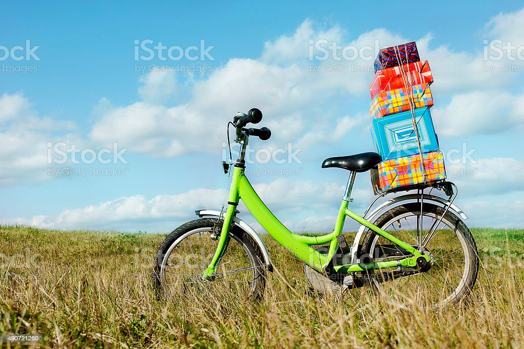 bike with gifts stock photo