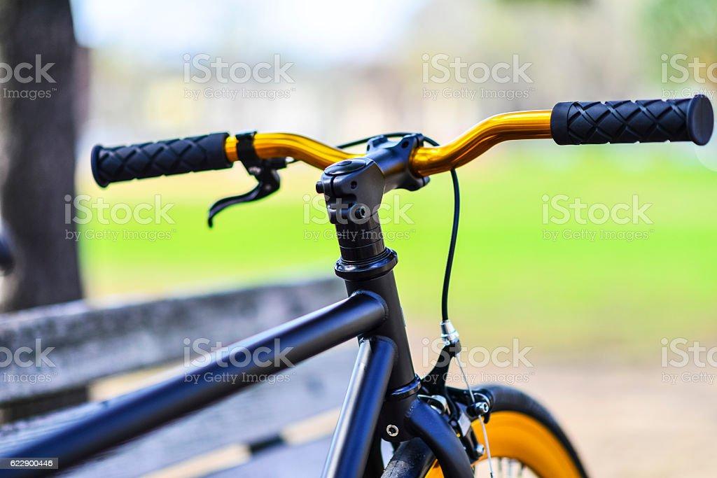 Bike with Gold Handlbars and Wheel stock photo