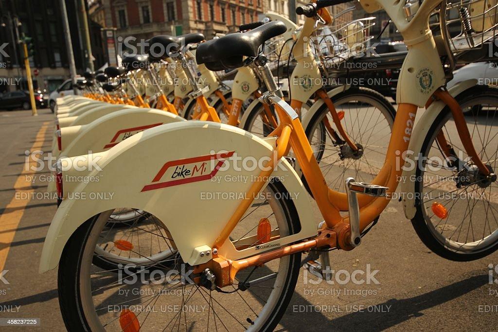 Bikemi bicycles in Cairoli square royalty-free stock photo