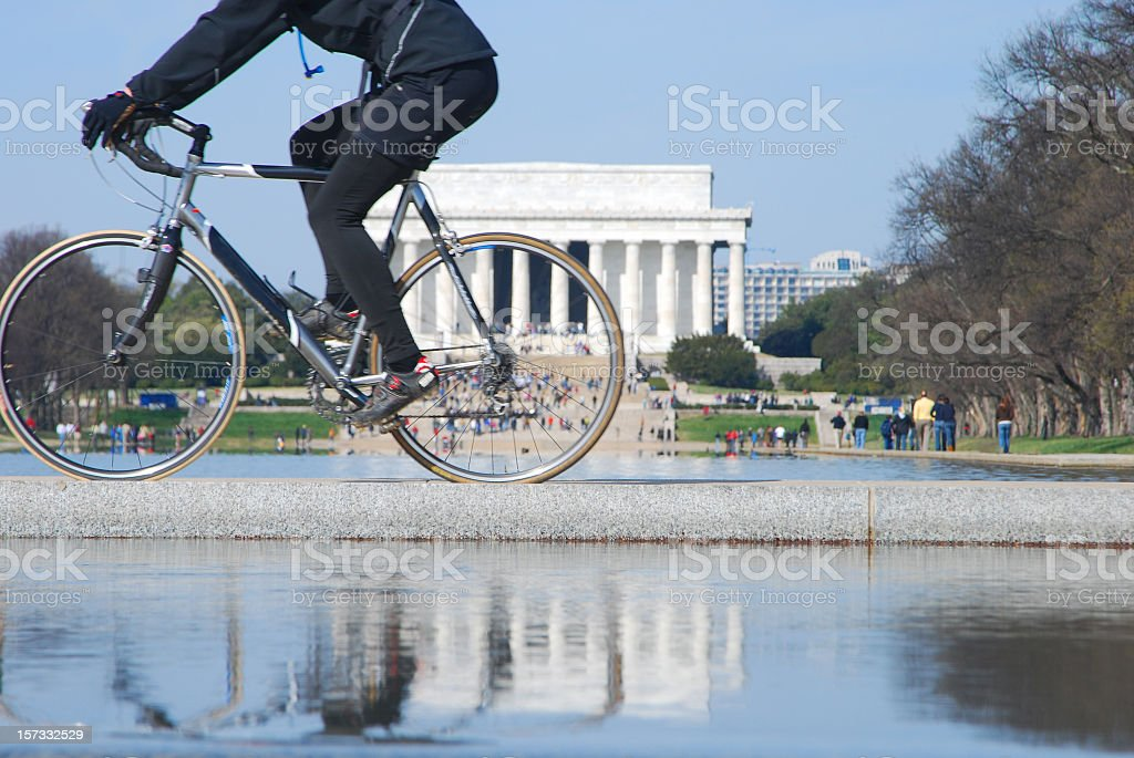Biker and Lincoln Memorial in reflection stock photo
