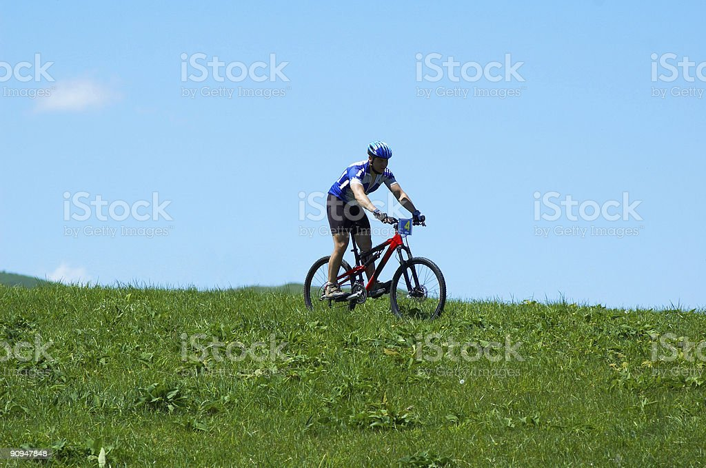 Biker and serene sky royalty-free stock photo