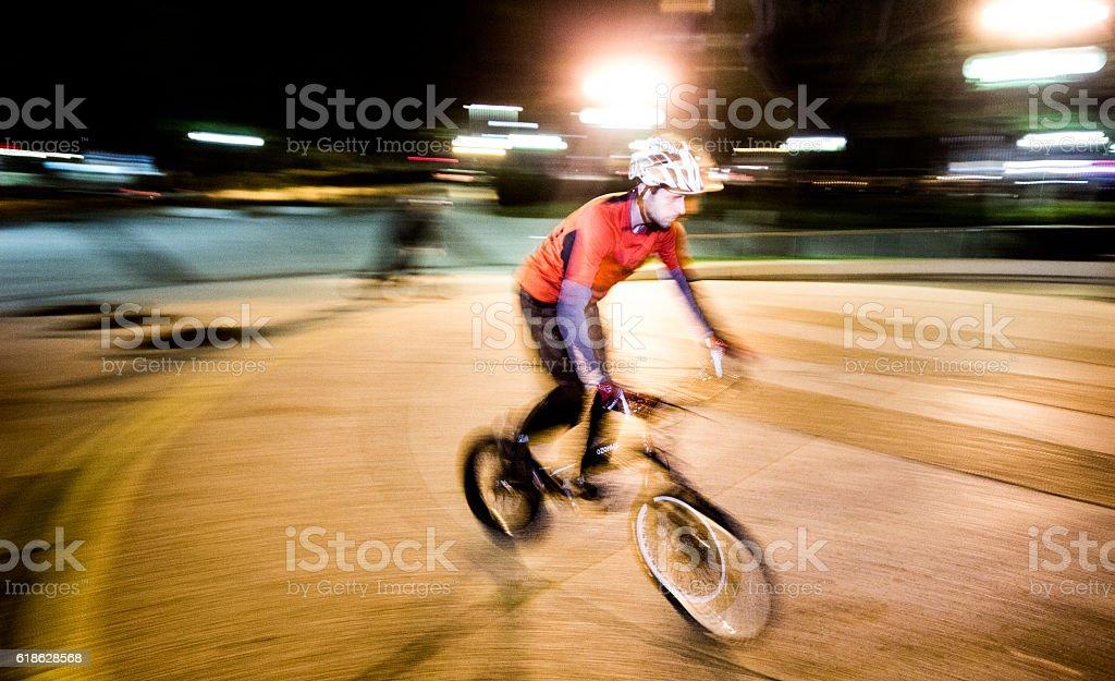 Biker at night stock photo