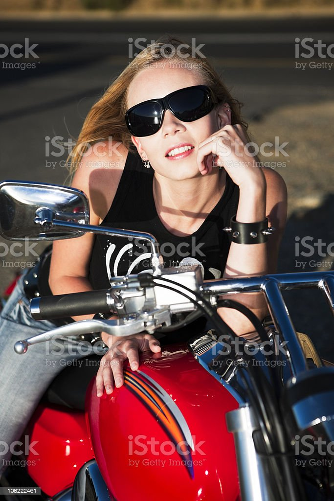 Biker babe royalty-free stock photo