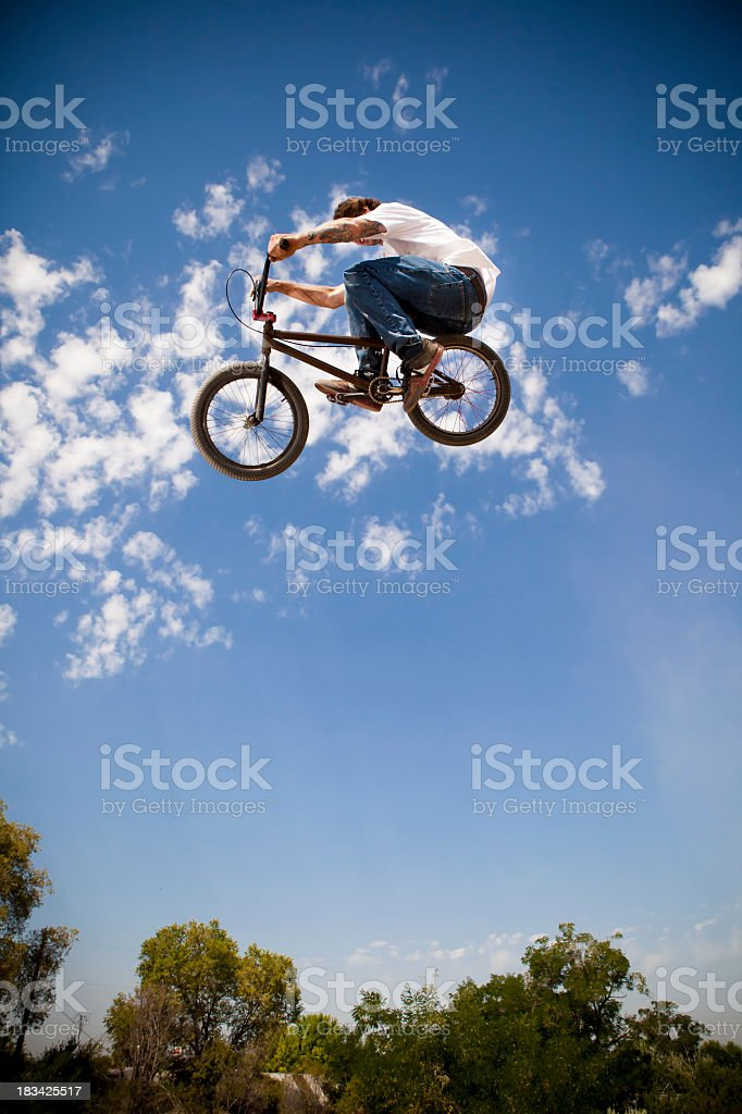 BMX Biker Big Air royalty-free stock photo