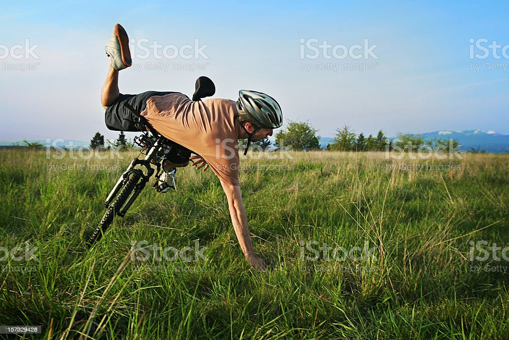 Biker Crash stock photo