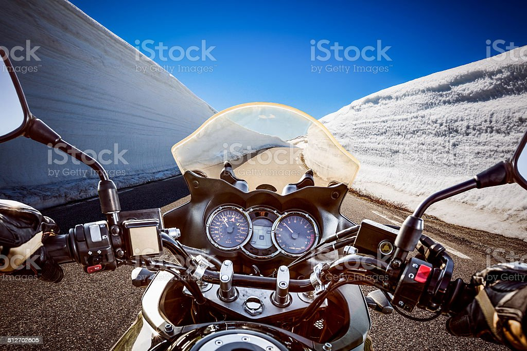Biker First-person view, mountain serpentine. stock photo